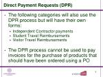 direct payment requests dpr10