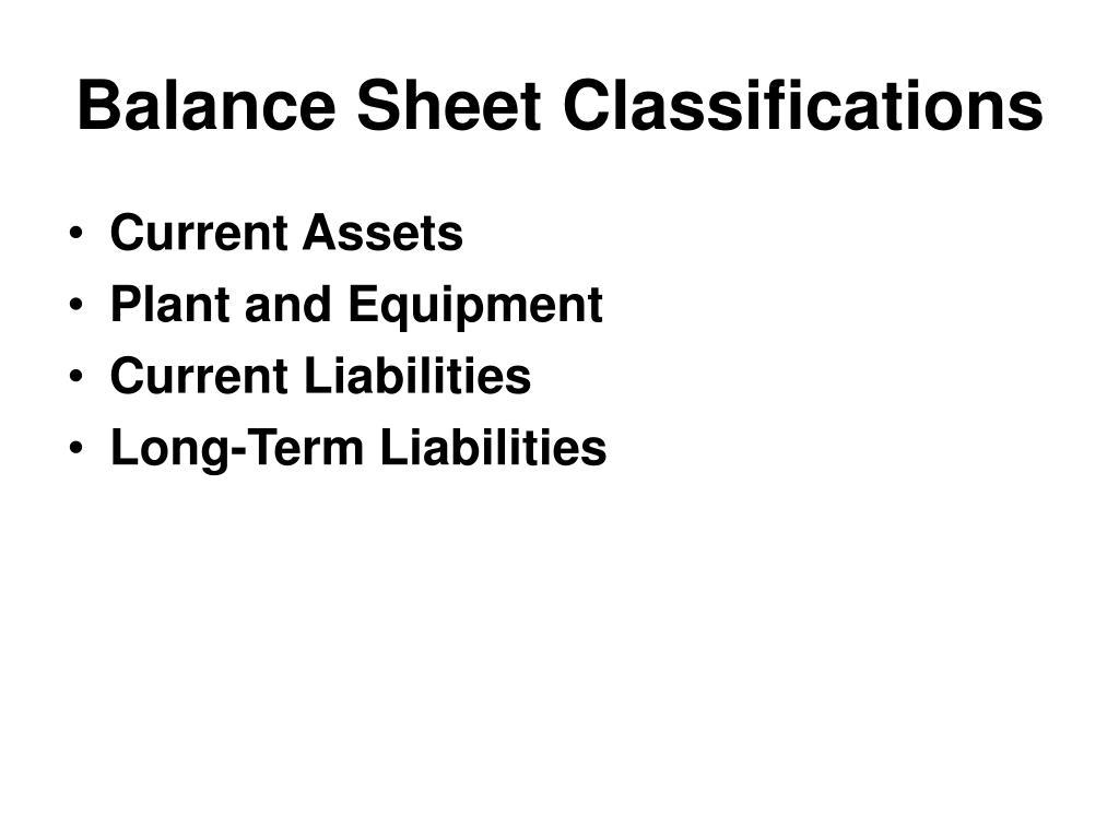 Balance Sheet Classifications