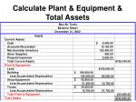 calculate plant equipment total assets