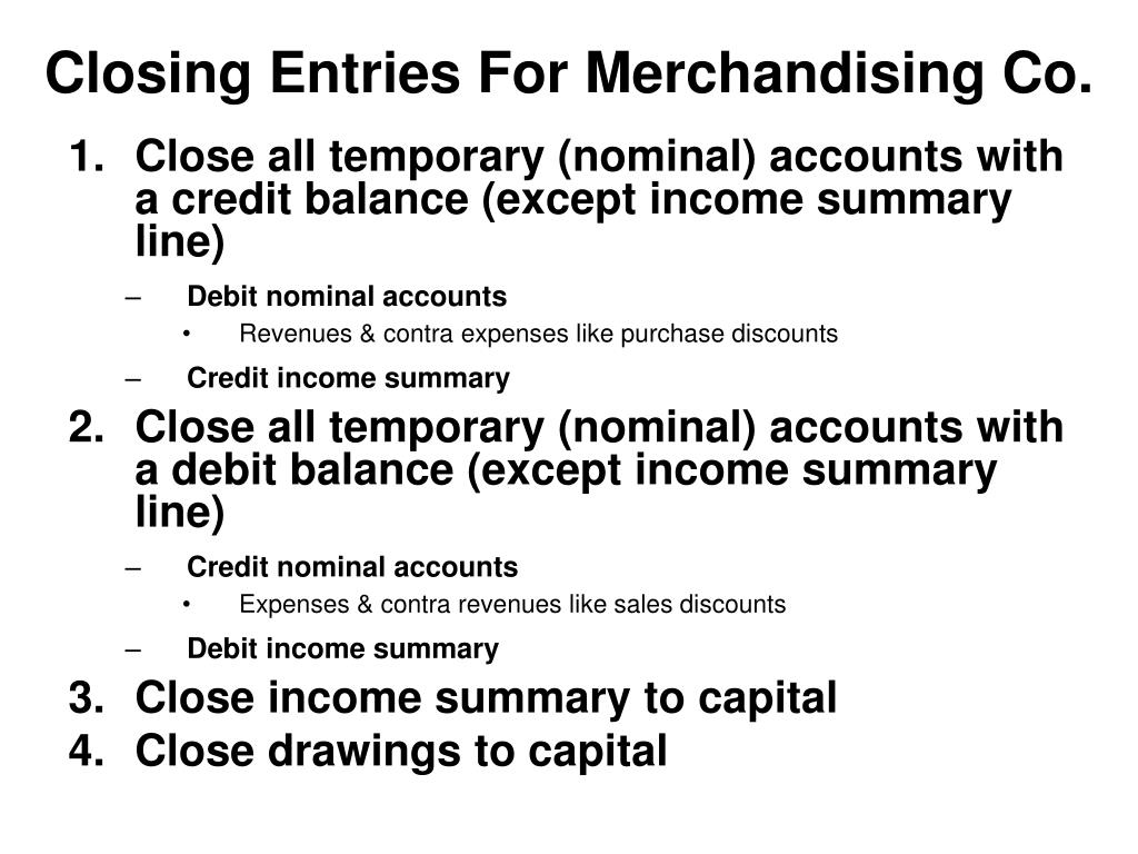 Closing Entries For Merchandising Co.