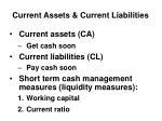 current assets current liabilities