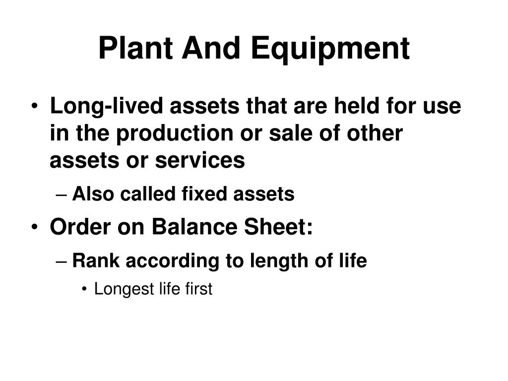 Plant And Equipment