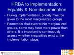 hrba to implementation equality non discrimination