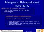 principles of universality and inalienability