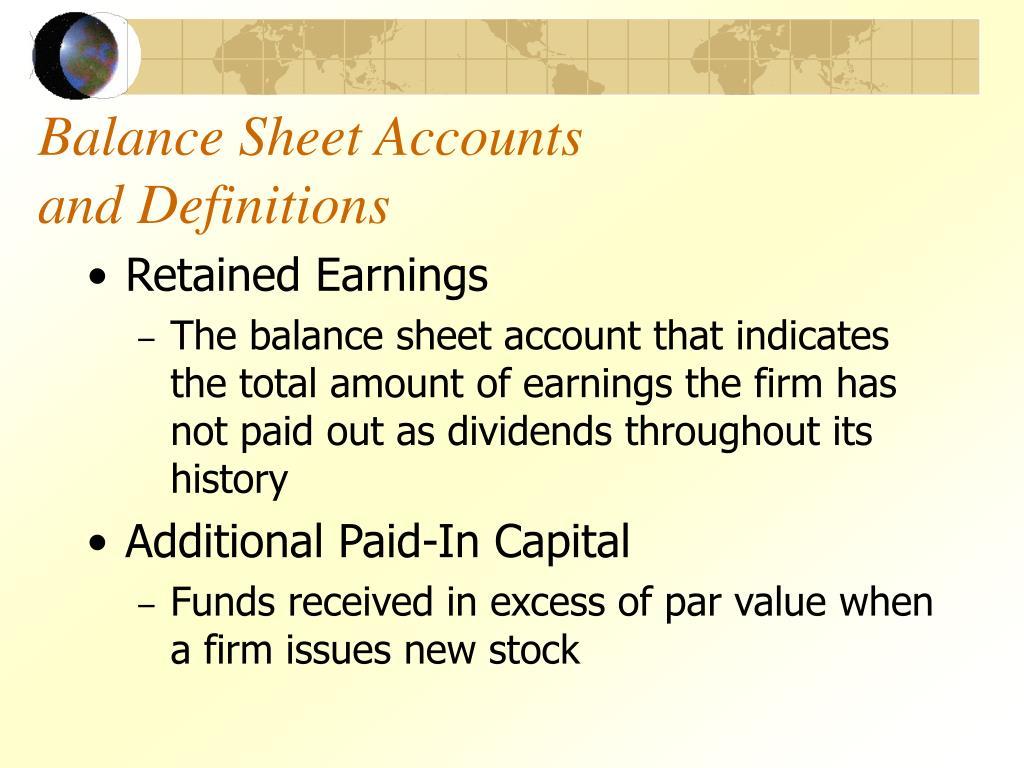 Balance Sheet Accounts