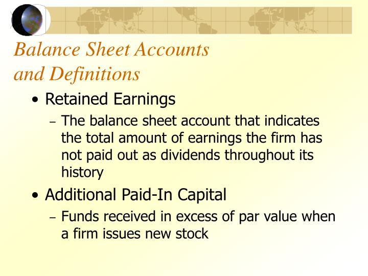 Balance sheet accounts and definitions3