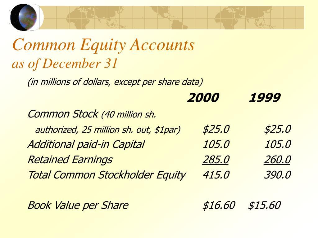 Common Equity Accounts