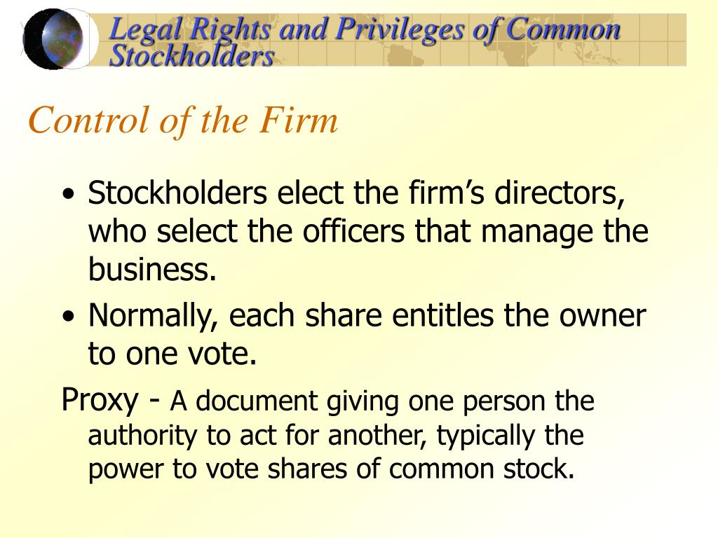 Legal Rights and Privileges of Common Stockholders