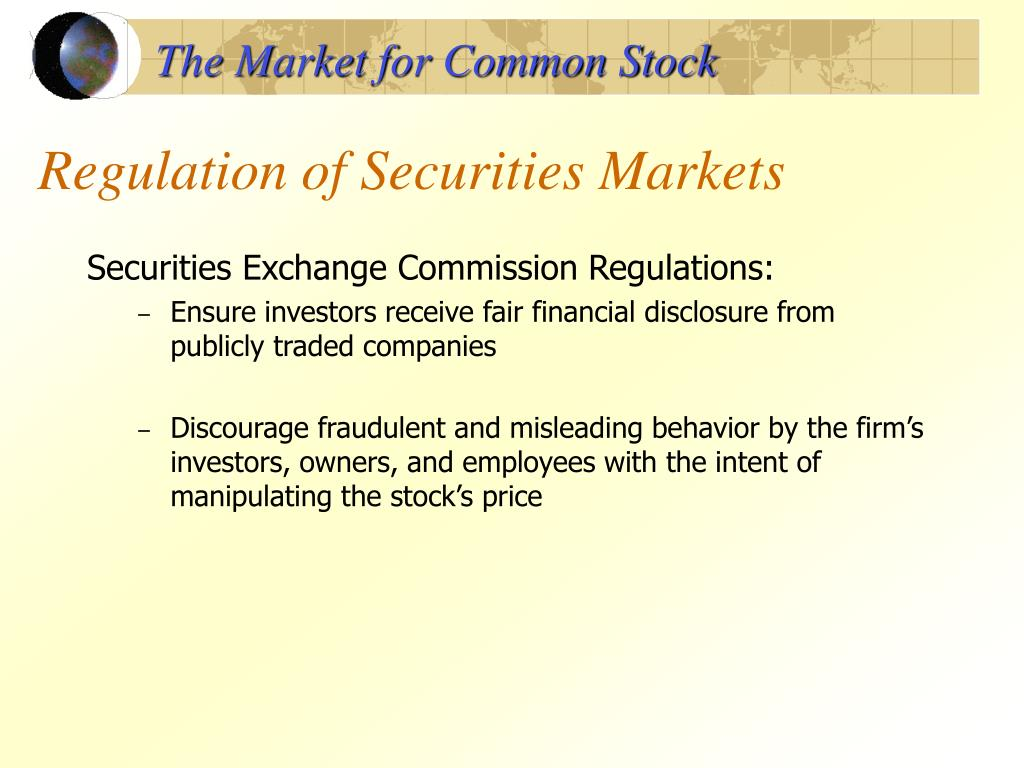 The Market for Common Stock