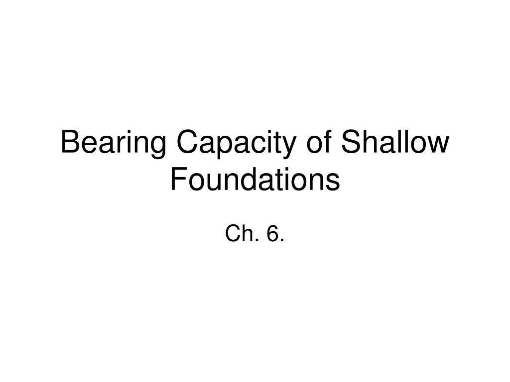 bearing capacity of shallow foundations l.