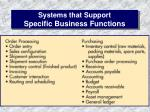 systems that support specific business functions