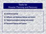 tools for disaster planning and recovery