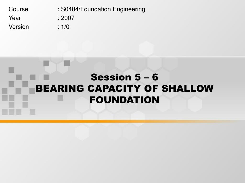 PPT - Session 5 – 6 BEARING CAPACITY OF SHALLOW FOUNDATION