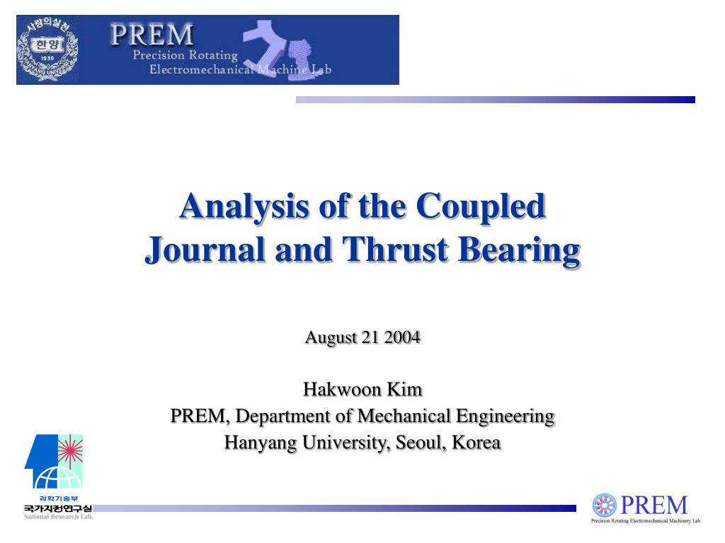 analysis of the coupled journal and thrust bearing l.