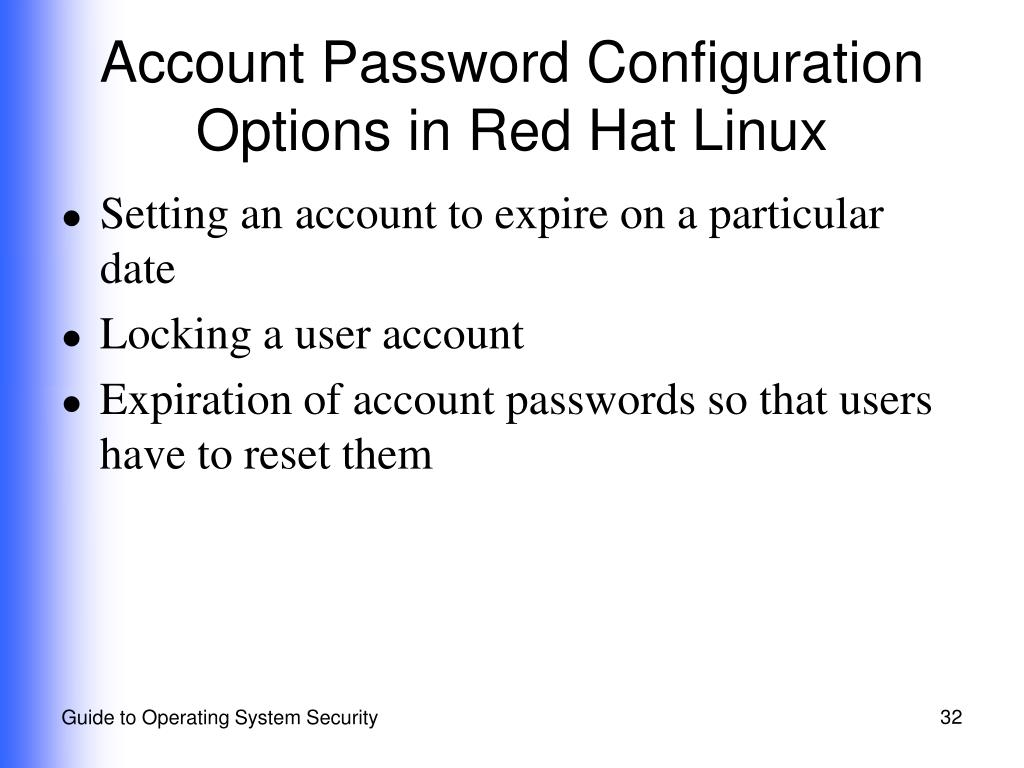 Account Password Configuration Options in Red Hat Linux