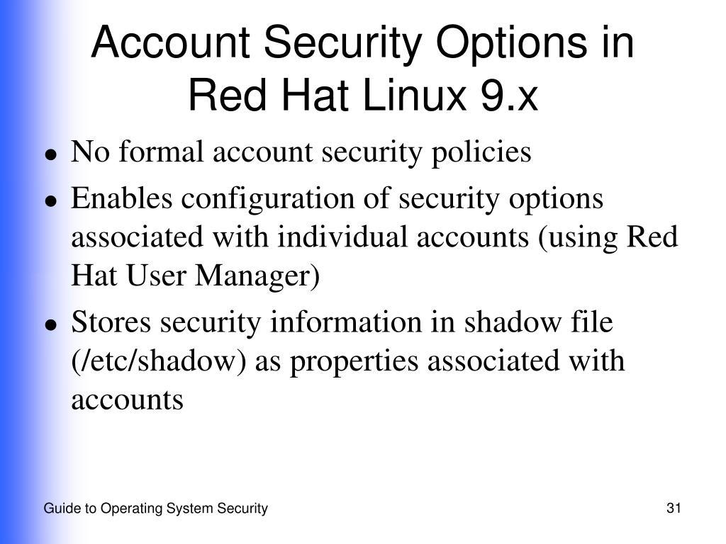 Account Security Options in Red Hat Linux 9.x
