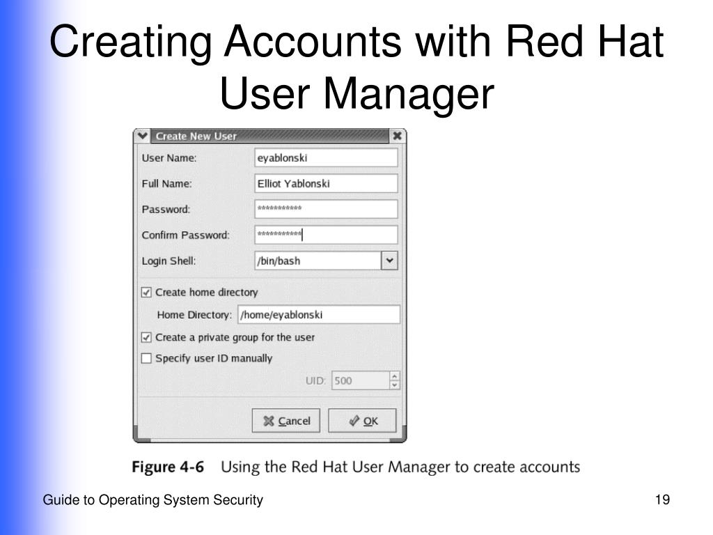 Creating Accounts with Red Hat User Manager