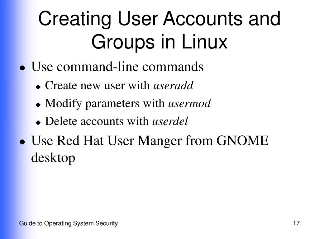 Creating User Accounts and Groups in Linux