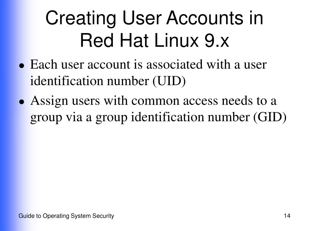 Creating User Accounts in