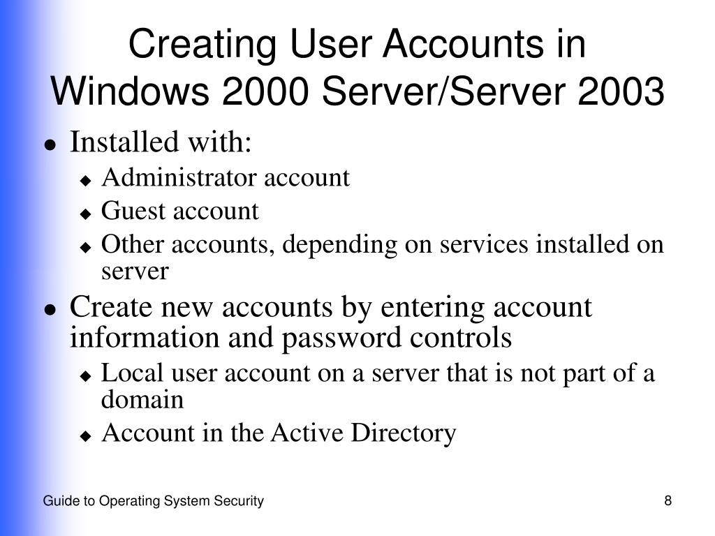 Creating User Accounts in Windows 2000 Server/Server 2003