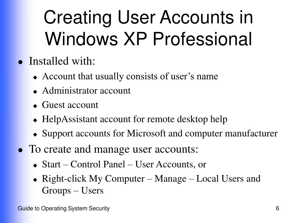 Creating User Accounts in Windows XP Professional