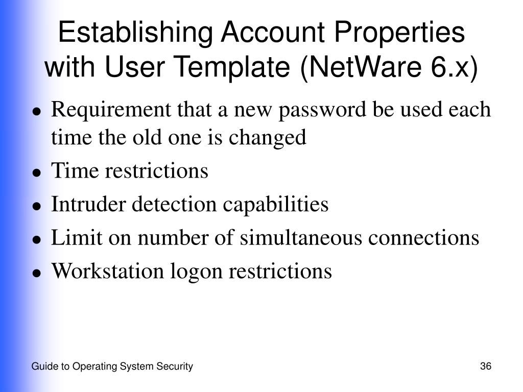 Establishing Account Properties with User Template (NetWare 6.x)