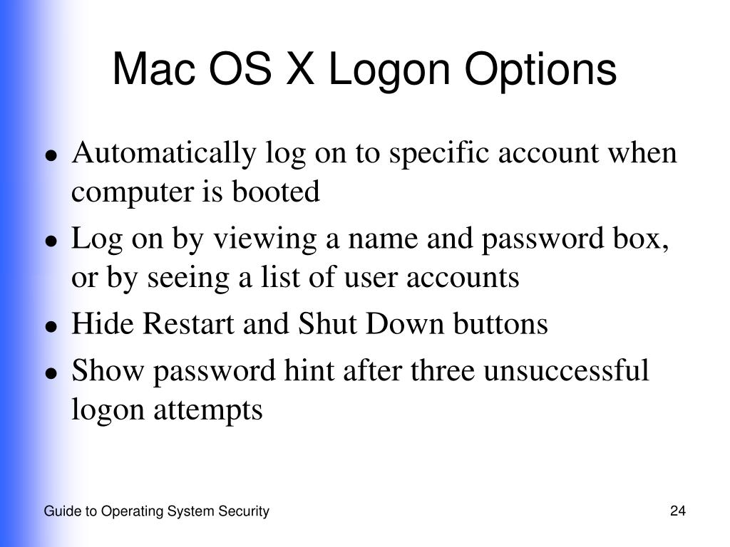 Mac OS X Logon Options
