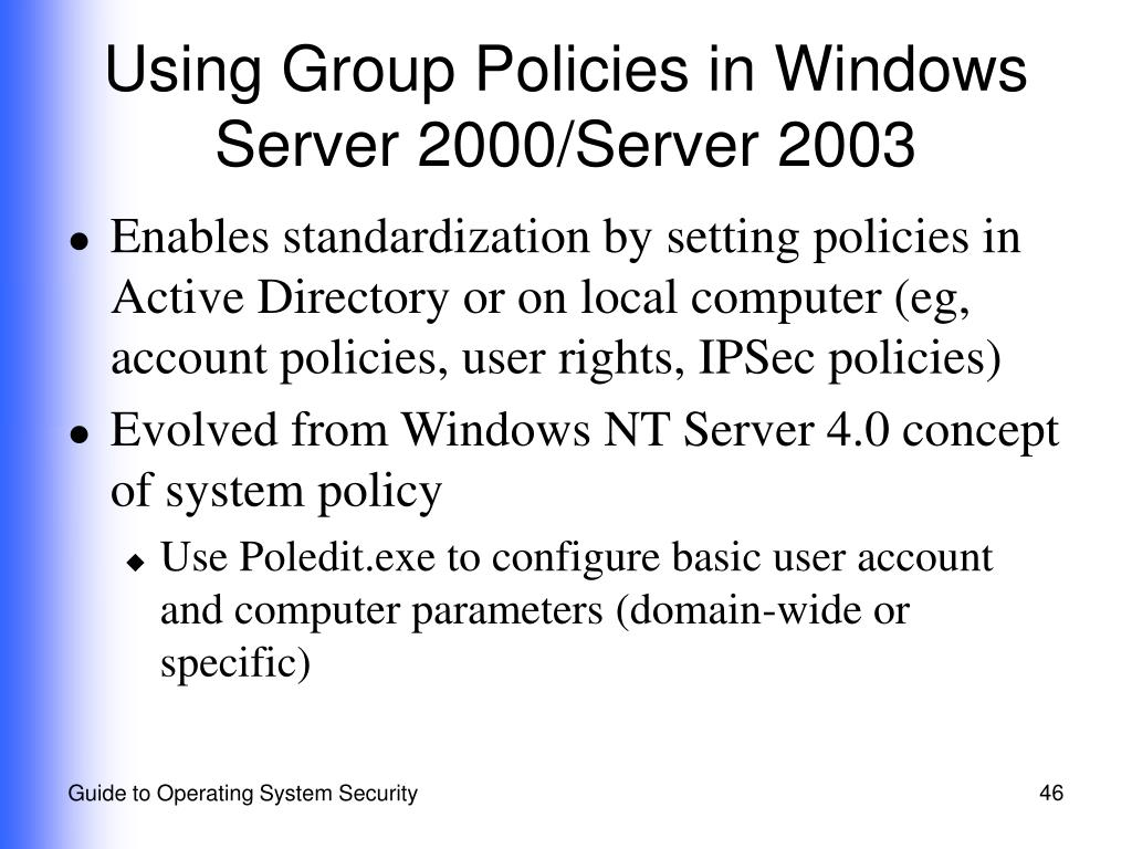 Using Group Policies in Windows Server 2000/Server 2003