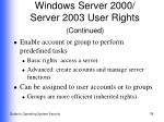 windows server 2000 server 2003 user rights continued