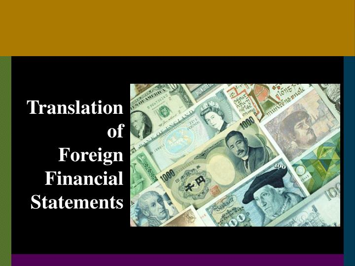 translation of foreign financial statements n.
