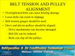 belt tension and pulley alignment