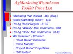 agmarketingwizard com toolkit price list
