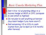 basic canola marketing plan