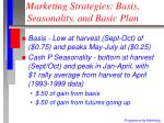 marketing strategies basis seasonality and basic plan