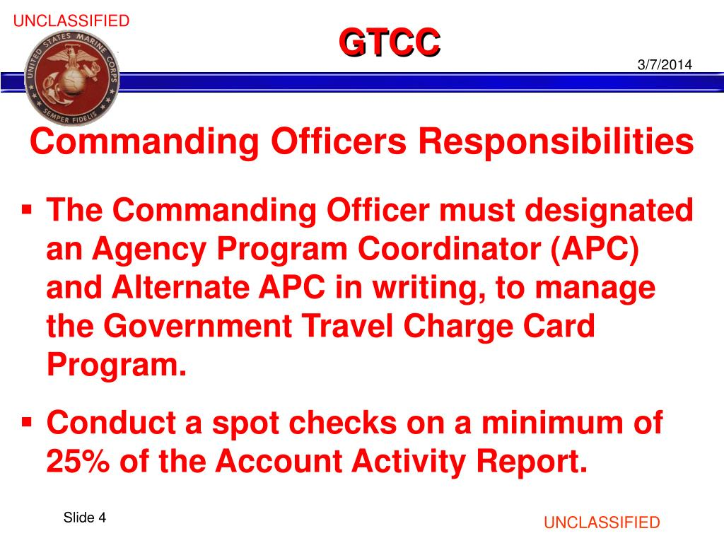 Government Travel Charge Card Program Gtcc