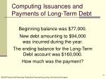 computing issuances and payments of long term debt