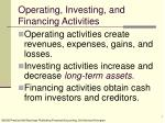operating investing and financing activities