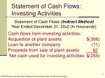 statement of cash flows investing activities