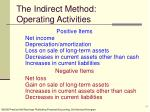 the indirect method operating activities