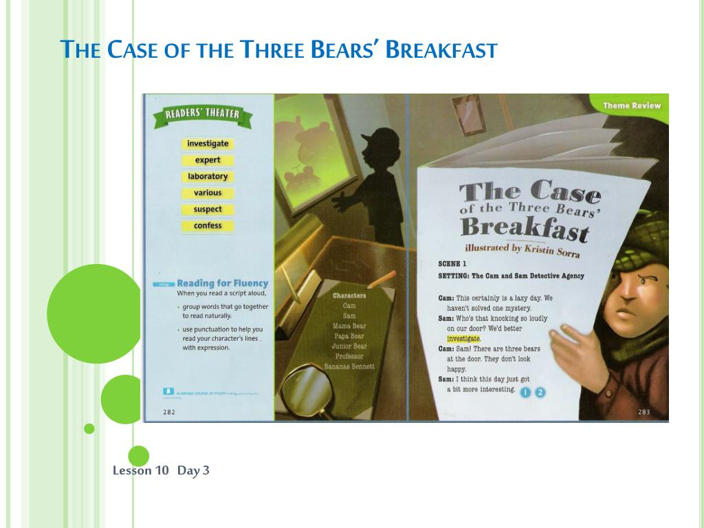 the case of the three bears breakfast l.