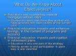 what do we know about effectiveness