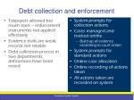 debt collection and enforcement