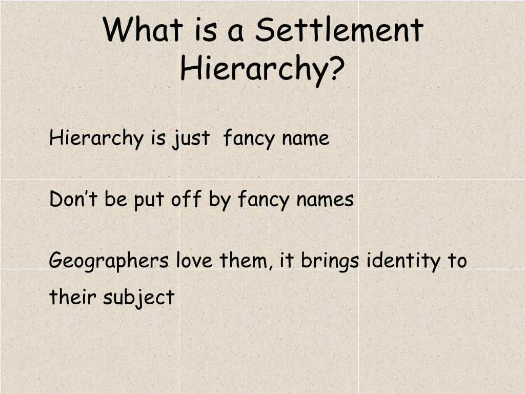 what is a settlement hierarchy l.