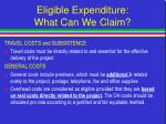 eligible expenditure what can we claim27