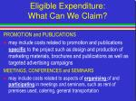 eligible expenditure what can we claim28