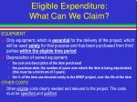 eligible expenditure what can we claim29