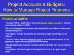 project accounts budgets how to manage project finances