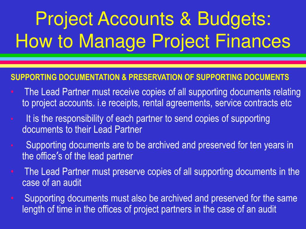 Project Accounts & Budgets: