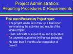 project administration reporting procedures requirements7