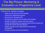 the big picture monitoring evaluation on programme level50